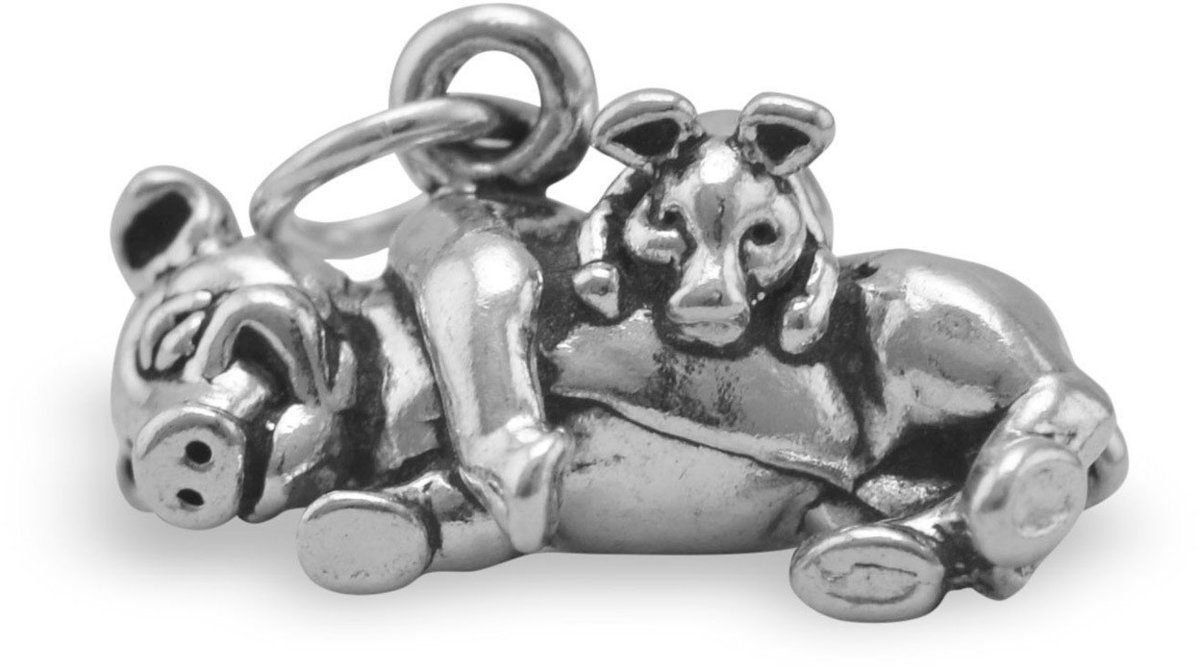 Adorable Oxidized Pig with Piglet Charm 925 Sterling Silver