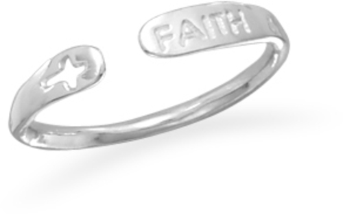 "Rhodium Plated Adjustable ""Faith"" Ring 925 Sterling Silver"