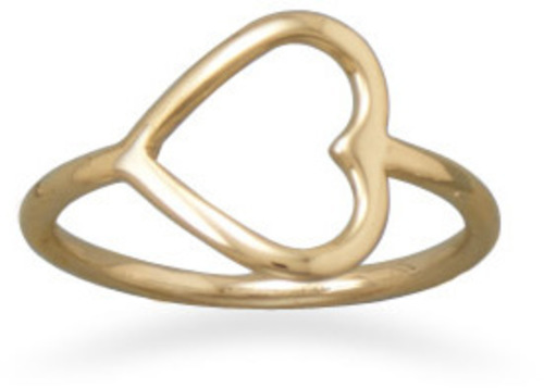 Open Your Heart 14 Karat Gold Plated Sterling Silver Ring 925 Sterling Silver