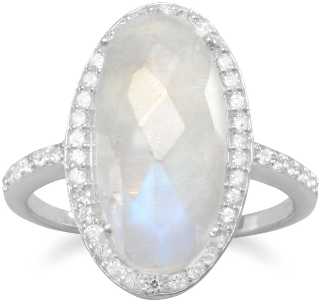 Gorgeous Rainbow Moonstone Ring 925 Sterling Silver