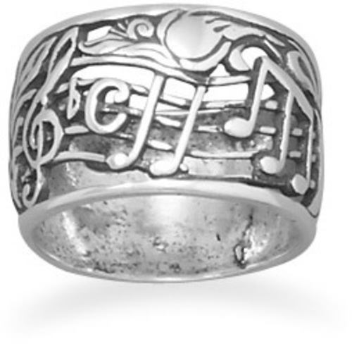 Oxidized Musical Theme Ring 925 Sterling Silver