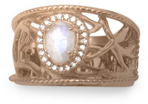 14 Karat Rose Gold Plated Rainbow Moonstone Ring 925 Sterling Silver