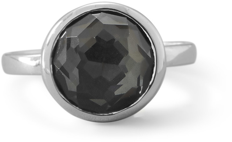 Large Round Freeform Faceted Quartz over Hematite Stackable Ring 925 Sterling Silver - DISCONTINUED