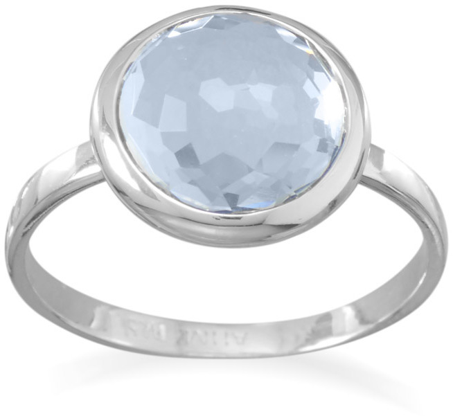 Large Round Freeform Faceted Light Blue Hydro Quartz Stackable Ring 925 Sterling Silver