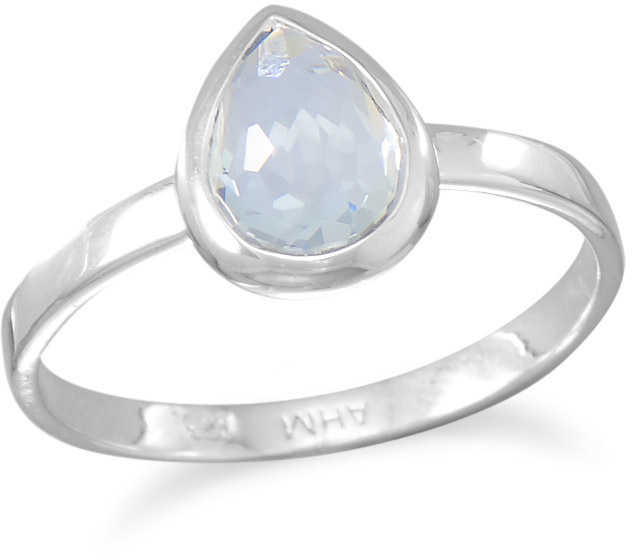 Small Pear Shape Freeform Faceted Light Blue Hydro Quartz Stackable Ring 925 Sterling Silver