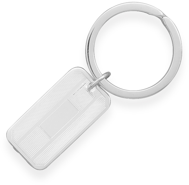Key Ring with Rectangular Tag 925 Sterling Silver