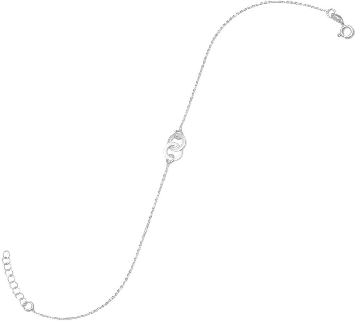 11 + 1 Double Circle Anklet 925 Sterling Silver