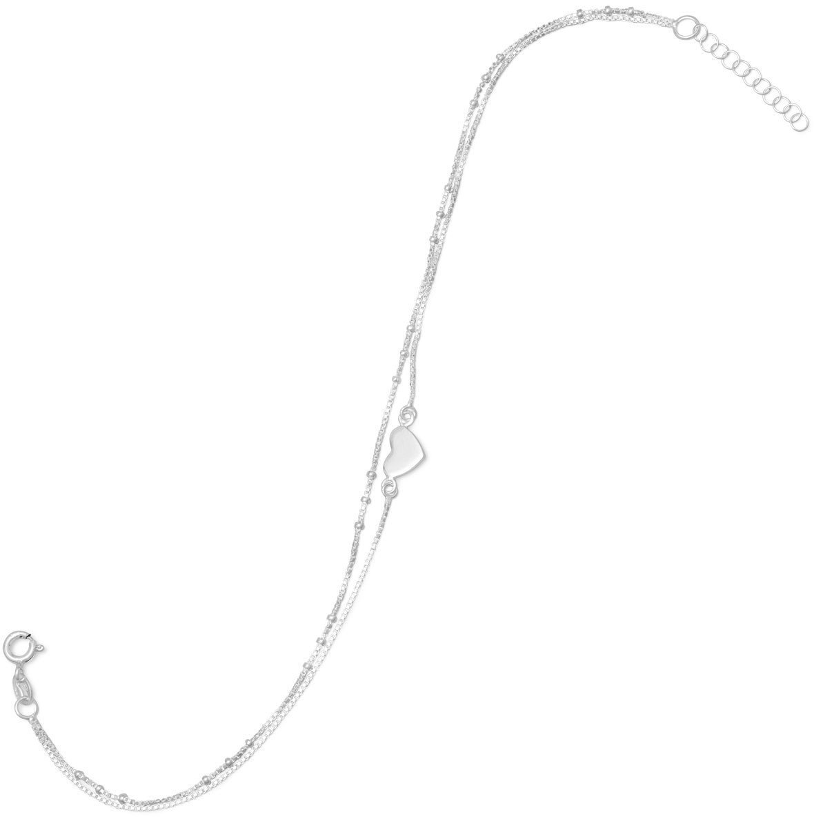 11 + 1 Double Strand Heart Anklet 925 Sterling Silver