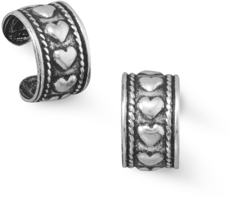 Ear Cuffs with Heart Design 925 Sterling Silver