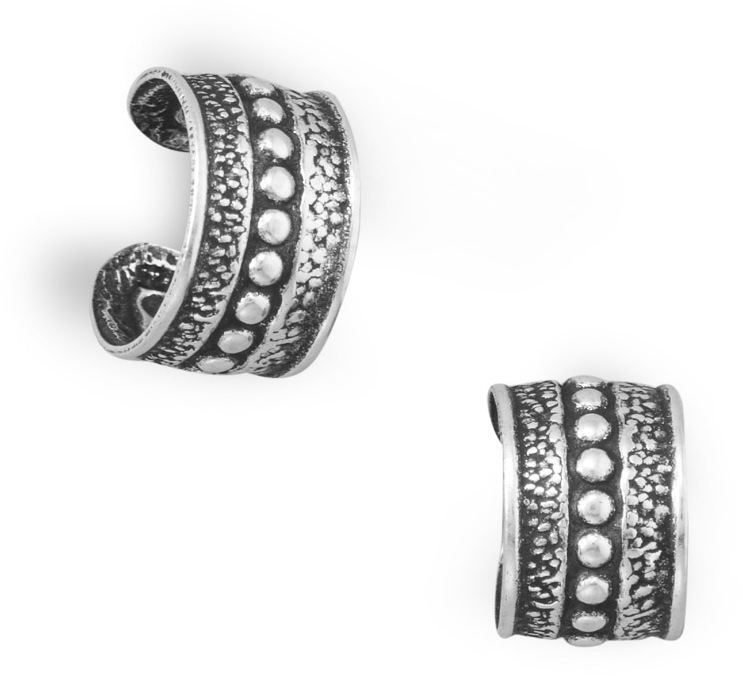 Oxidized Ear Cuffs with Bead Design 925 Sterling Silver - DISCONTINUED