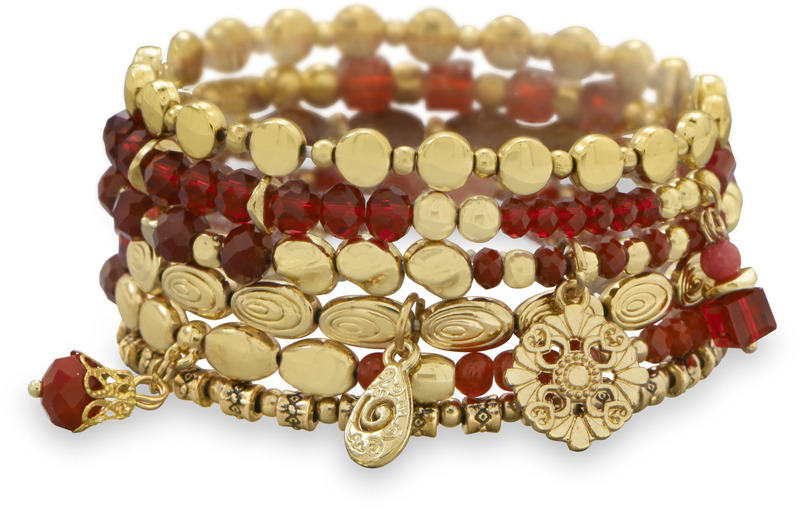 Set of 6 Gold Tone Multicharm Fashion Stretch Bracelets with Red Beads