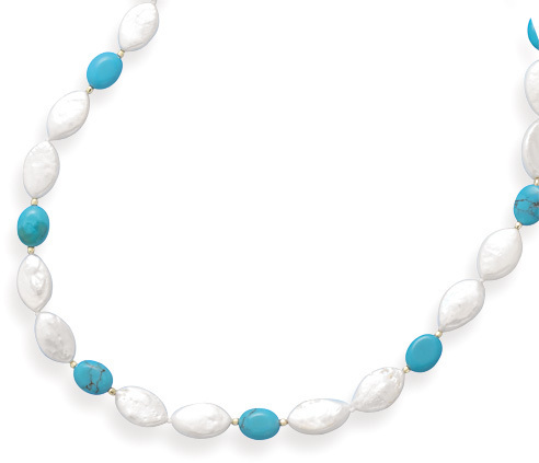"16"" Turquoise and Cultured Freshwater Pearl Necklace with 14K Yellow Gold Beads and Pearl Clasp - DISCONTINUED"