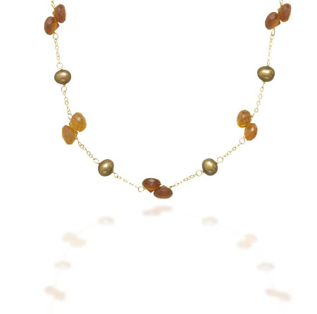 "16"" 14K Yellow Gold Necklace with Cultured Freshwater Brown Pearls and Hessonite - DISCONTINUED"