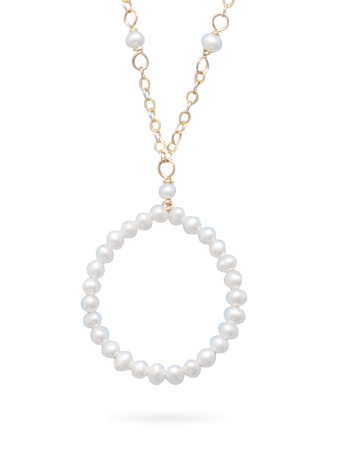 "16"" 14K Yellow Gold Necklace with Cultured Freshwater Seed Pearl Open Circle Drop - DISCONTINUED"