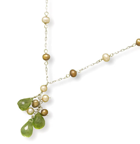 "16"" 14K White Gold Necklace with Cultured Freshwater Potato Pearl and Faceted Peridot Drop - DISCONTINUED"