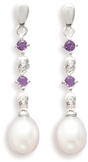 "14K White Gold 7-7.5mm (0.28""-0.3"") Cultured Freshwater Rice Pearl, Diamond and Amethyst Post Drop Earrings"