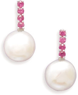 Cultured Freshwater Coin Pearl and Pink Sapphire 14K White Gold Post Earrings