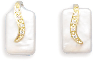 14K Yellow Gold Post Earrings Featuring a Cultured Freshwater Rectangle Pearl with Diamond Accents