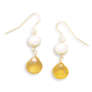 Cultured Freshwater Pearl and Citrine 14K Yellow Gold French Wire Earrings - DISCONTINUED