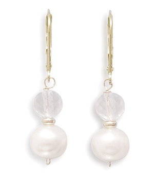 Cultured Freshwater Pearl and Crystal Earrings with 14K Yellow Gold Beads and Lever Backs- DISCONTINUED