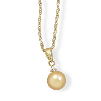 "18"" 14K Yellow Gold Necklace and Pendant Featuring a Diamond and 6.5-7mm Dyed Cultured Akoya Pearl- DISCONTINUED"
