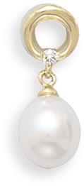 "14K Yellow Gold Open Circle Slide with a Diamond and 7.5-8mm (0.3""-0.31"") Cultured Freshwater Rice Pearl Drop"