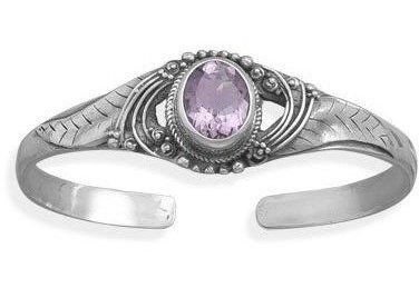 Oval Faceted Amethyst Leaf Design Cuff 925 Sterling Silver