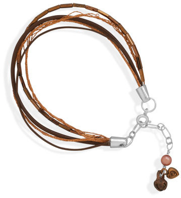 "7"" + 1"" Extension Bracelet with Copper Thread, Glass Bead and Leather Strands and Copper Charms 925 Sterling Silver"