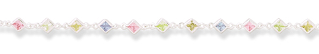 "7"" Yellow, Green, Pink and Light Purple CZ Bracelet 925 Sterling Silver - DISCONTINUED"