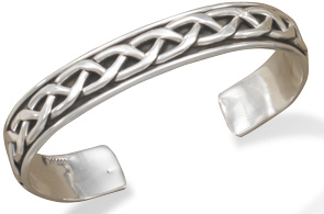 Oxidized Braided Mens Cuff Bracelet 925 Sterling Silver