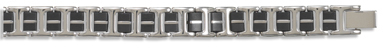 "8.25"" Black Rubber and Stainless Steel Mens Bracelet - DISCONTINUED"