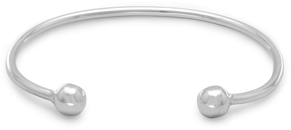Men's Cuff Bracelet with Ball Ends 925 Sterling Silver