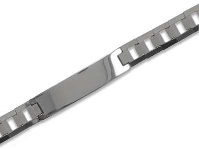 "8.5"" Tungsten Carbide Men's ID Bracelet with Germanium Beads - DISCONTINUED"