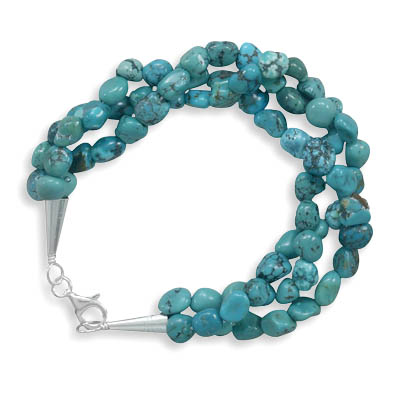 "7.5"" Triple Strand Turquoise Nugget Bracelet 925 Sterling Silver - DISCONTINUED"