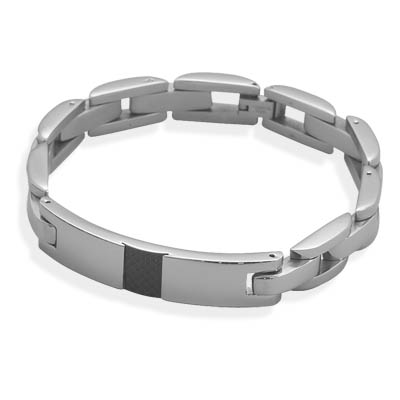 "8.75"" 316L stainless steel ID bracelet with black checkered pattern.- DISCONTINUED"