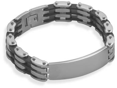 "7.75"" 316L stainless steel and rubber ID bracelet."