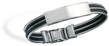 316L stainless steel cable and black rubber ID bracelet.