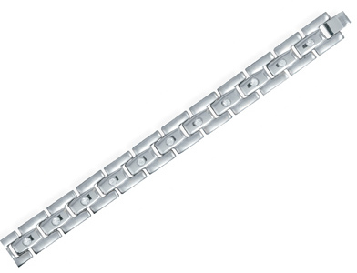 "8"" Men's 316L stainless steel and CZ bracelet."