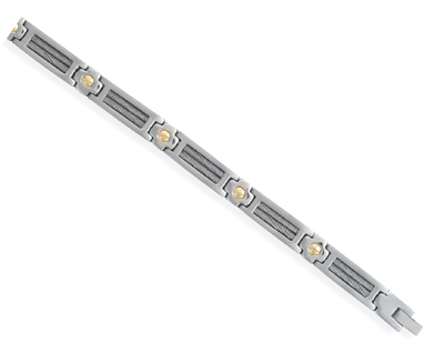 "8.25"" 316L stainless steel men's bracelet with cable center and 14 karat gold accents."