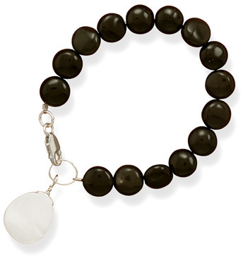 Black Onyx Coin Bracelet with Shell Drop 925 Sterling Silver