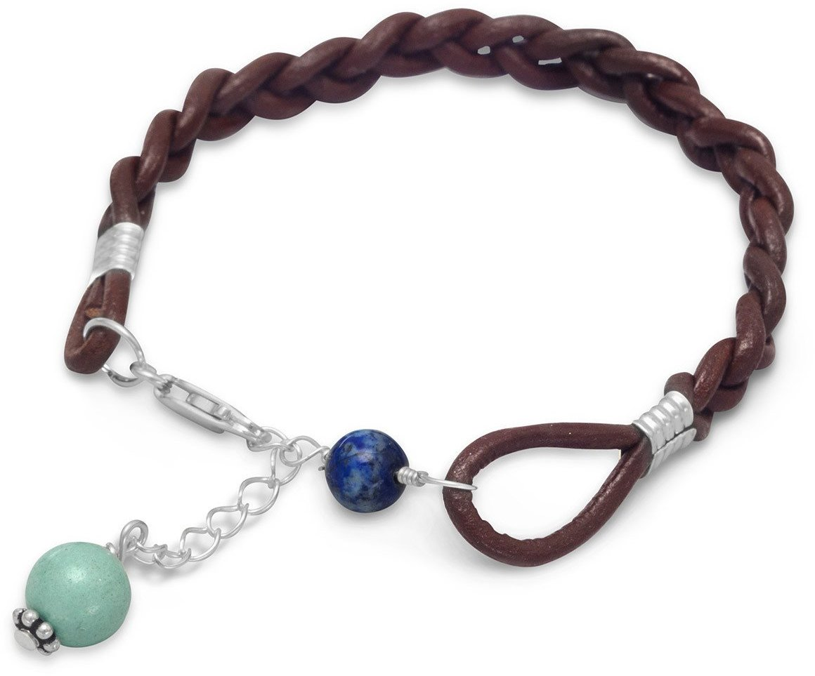 Braided Leather Bracelet with Lapis and Turquoise Beads 925 Sterling Silver