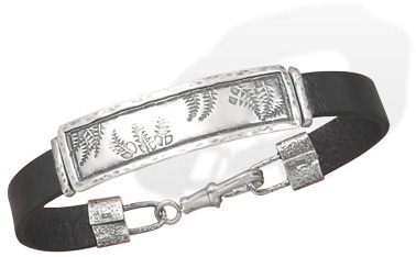 Leather ID Bracelet with Fern Design 925 Sterling Silver