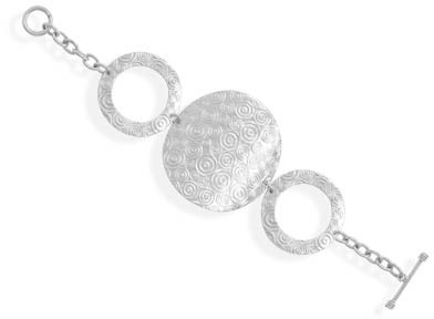 "7.5"" Triple Circle Design Toggle Bracelet 925 Sterling Silver"