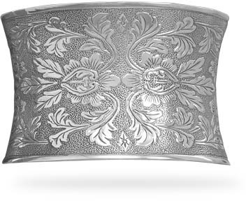 Concave Oxidized Floral Cuff Bracelet 925 Sterling Silver