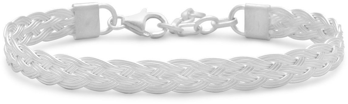 6.5+1 Braided Cuff Bracelet 925 Sterling Silver