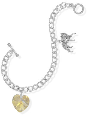 "7.5"" Heart and Wolf Charm Bracelet 925 Sterling Silver - DISCONTINUED"