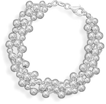 "7"" 4 Strand Bracelet with 4mm (1/6"") & 5mm Beads 925 Sterling Silver - DISCONTINUED"