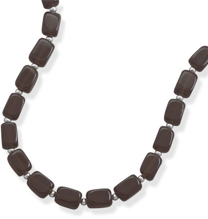 "16""+2""Extension Necklace with Smoky Quartz and 4mm (1/6"") Sterling Silver Beads"