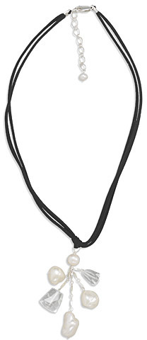 "16""+2""Extension Black Suede Necklace with Shell and Crystal Drop 925 Sterling Silver"
