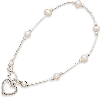 "6"" Cultured Freshwater Pearl Bracelet with Open Heart Drop 925 Sterling Silver"
